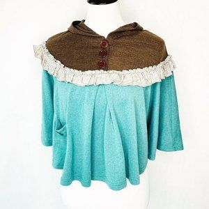 Theme Womens Poncho Hooded Sweater Brown Green Sm